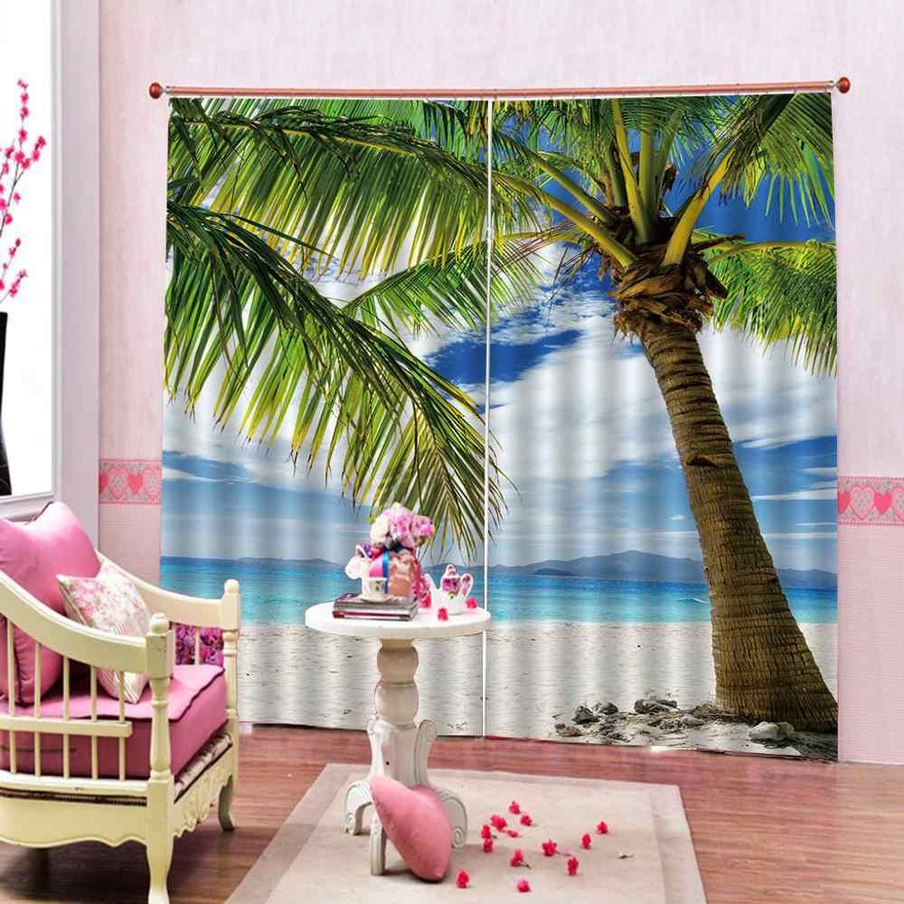 カスタマイズされたサイズ高級遮光 3D 窓のカーテンリビングルームビーチ椰子カーテン暗幕