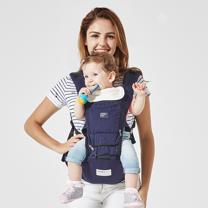 High-quality multi-functional cotton baby lumbar stool portable baby sling scientific design to ease the load multi function portable comfortable cotton baby carrier sling bag deep blue white
