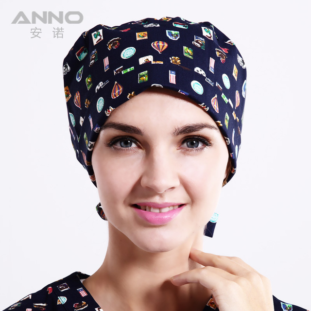 Blue stamp  pattern printing Gourd cotton hat surgical caps with adjustable size