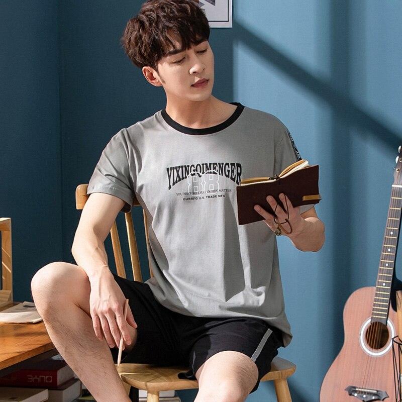 Pajamas-Set Sleepwear-Set Short-Sleeve Home-Wear Men's Cotton Korean Casual Summer Trousers-Set