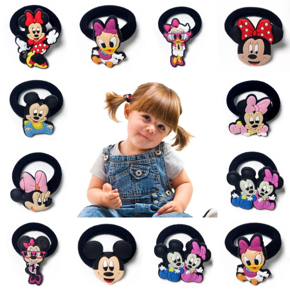 10pcs/lot Mickey Minnie Baby Girls Hair Accessories Hair Bands Elastic Hair Ropes Ponytail   Headwear   Girls Party Small Gift