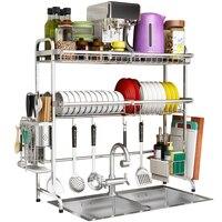 304 Stainless Steel Kitchen Shelf Rack Drying Drain Storage Holders Kitchen Plate Dish Cutlery Cup Drain Rack Kitchen Organizer