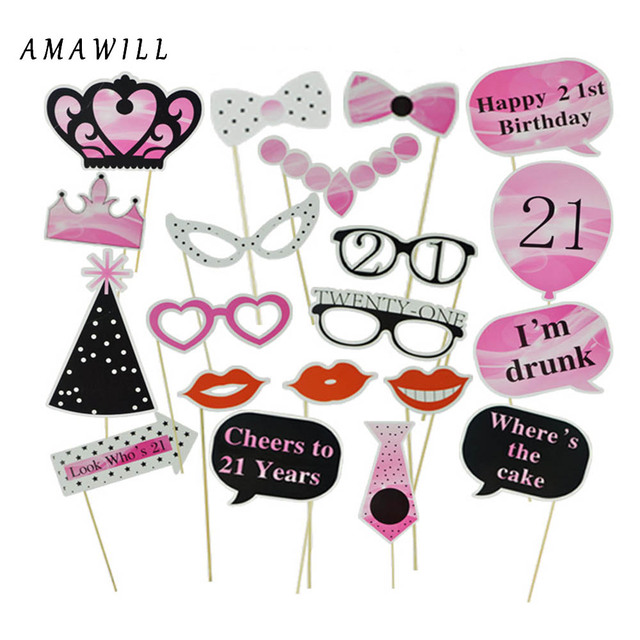 20pcs 21st Birthday Photo Booth Props Girl Moustache Hats Crown Glasses On A Stick Happy