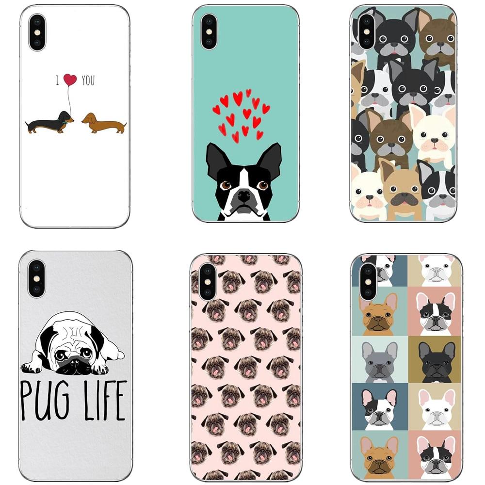 Cute Cartoon Animal Cat Dog flowers BULLDOG Hard PC Phone Case For iPhone X 10 5 5s SE 6 6s Plus 7 7Plus 8 8 Plus Bags Cover