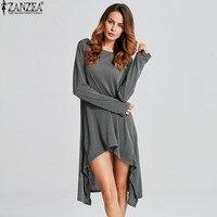 ZANZEA Sweater Dress Women Robe Pull Femme 2018 Knitwear Casual Long Sleeve Pullover Irregular Hem Mid
