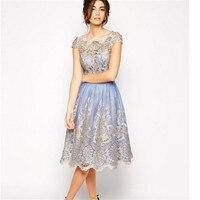2017 Elegant Lace Flower Vintage Women Summer Dress Plus Size S XL Feminino Party Dress 5