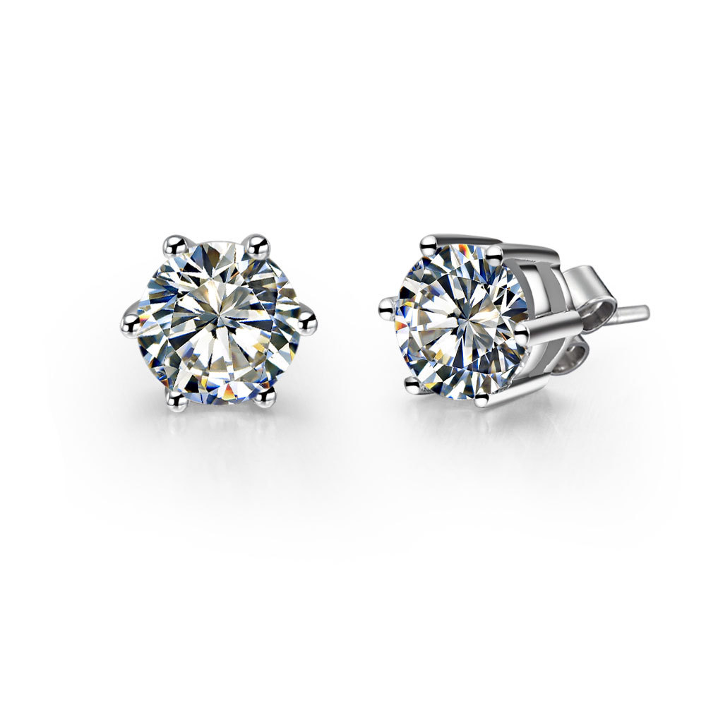 Piece Round Cut Diamond Solid 14k White Gold Stud Earrings For  Women Engagement