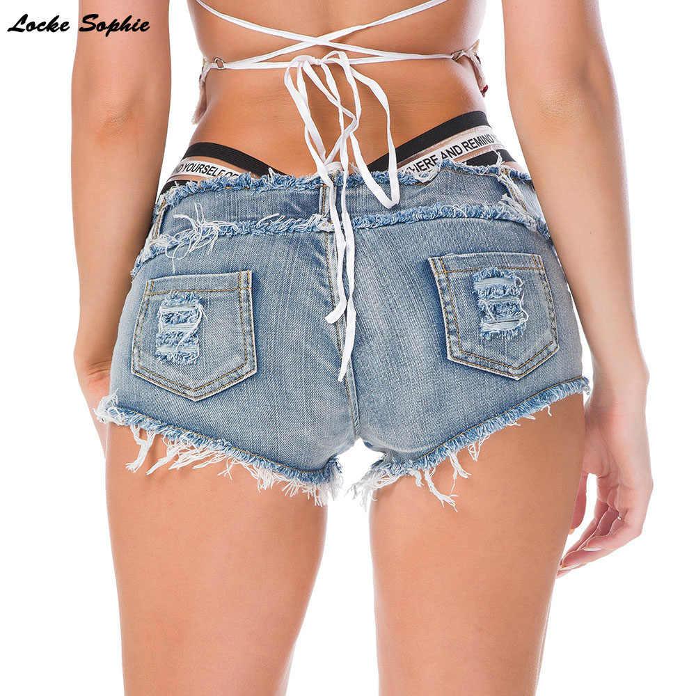 Krótkie spodenki w pasie dżinsy damskie spodenki jeansowe 2019 moda lato uszkodzony otwór damskie jeansowe krótkie jeansy Skinny jeans dziewczyny