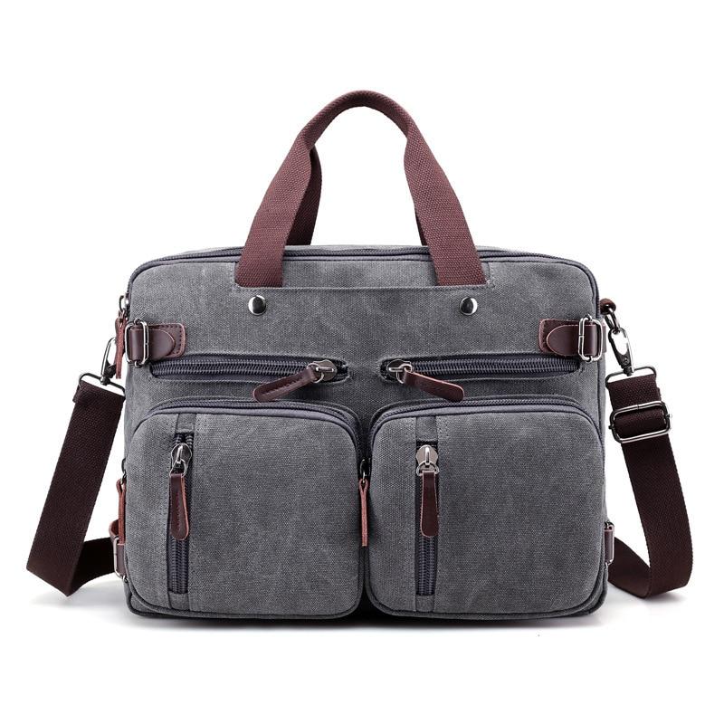 Men Quality Canvas Business Shoulder Crossbody Bags Men Messenger Bags Handbag Tote Bag Multifunction Back Pack