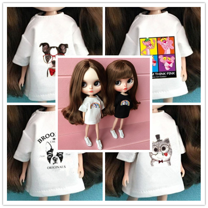 1PCS Blyth Doll T-Shirt Clothes For Barbi Shirt For Azone 1/6 Doll Clothing Pullip Doll Accessories For Barbie Doll