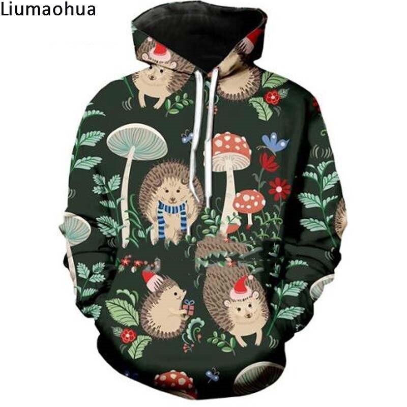 3d Printing Unisex Mushroom Cute Hedgehog Christmas Hat Pine Cone Hooded Sweatshirt Round Neck Pullover Casual Winter Jacket