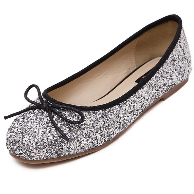 Con Redondos Lentejuelas plata Y Nuevos Bonitos Azul Lazo Coreanos Planos Mujer Para Zapatos wqq8IpX