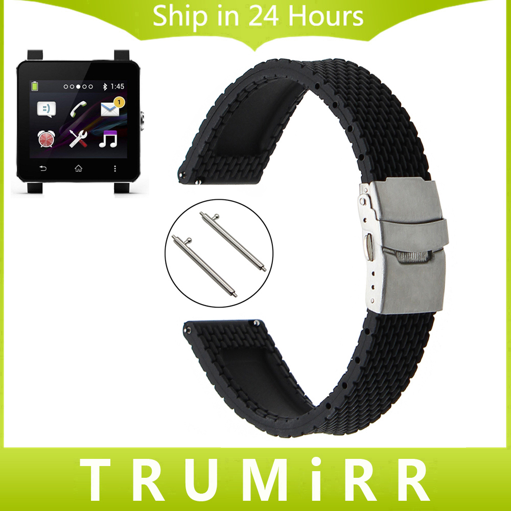 24mm Quick Release Silicone Rubber Watchband Tool for Sony Smartwatch 2 SW2 Suunto TRAVERSE Watch Band