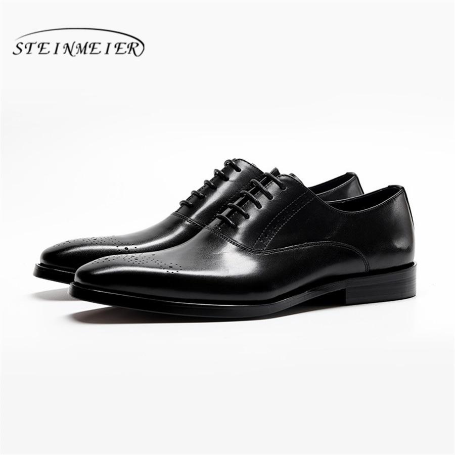Мужские туфли Броги из натуральной коровьей кожи; деловые свадебные туфли; повседневная обувь на плоской подошве; винтажные оксфорды ручно... - 3