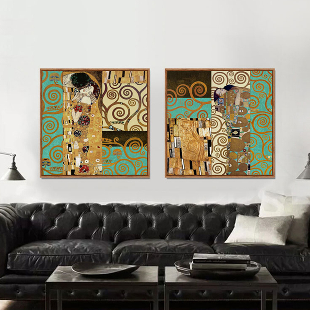 Aliexpress Com Buy Artists Gustav Klimt The Kiss Wall Pictures