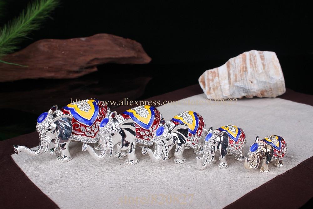 Antico 5 pz/set Thailandia elefante decor statuto scatola di gioielli di metallo per il ricordo colorato elefante trinket box glod elephant craft-in Confezioni e espositori per gioielli da Gioielli e accessori su  Gruppo 2