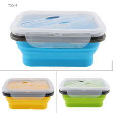 Portable 700ml Silicone Collapsible Lunch Box Microwave Oven Bowl Folding Food Storage Container Lunchbox