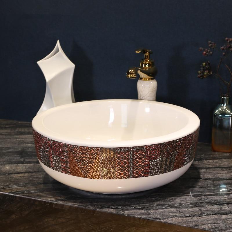 Permalink to Gray Thread pattern porcelain bathroom vanity bathroom sink bowl countertop Ceramic wash basin bathroom sink