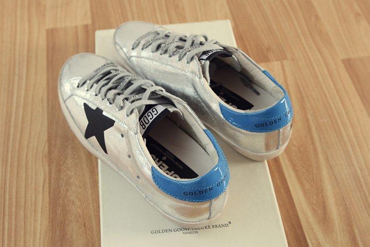 af52456f3b Golden Goose Sneakers Superstar Silver Flag Men Woman Low Cut Shoes ...