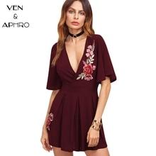 VA Лето 2017 г. Для женщин платье с вышивкой модные глубокий v-образным вырезом империи талии плиссированное платье бордовый Для женщин шифоновое платье