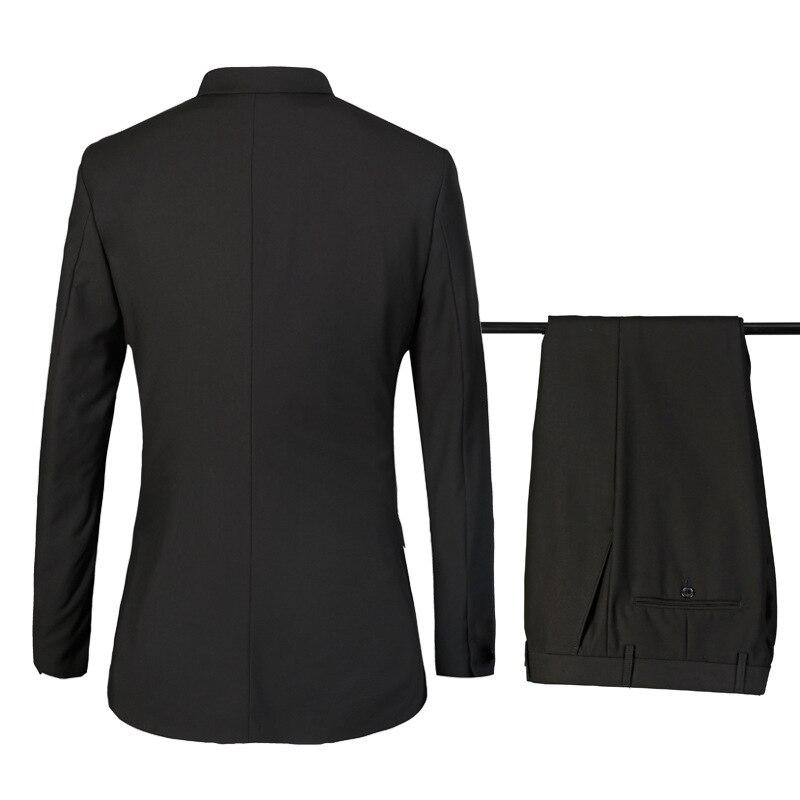 (Топ + штаны + жилеты) новый костюм деловой повседневный костюм джентльмена костюм из трех предметов, приталенный костюм, одна застежка, кост... - 2