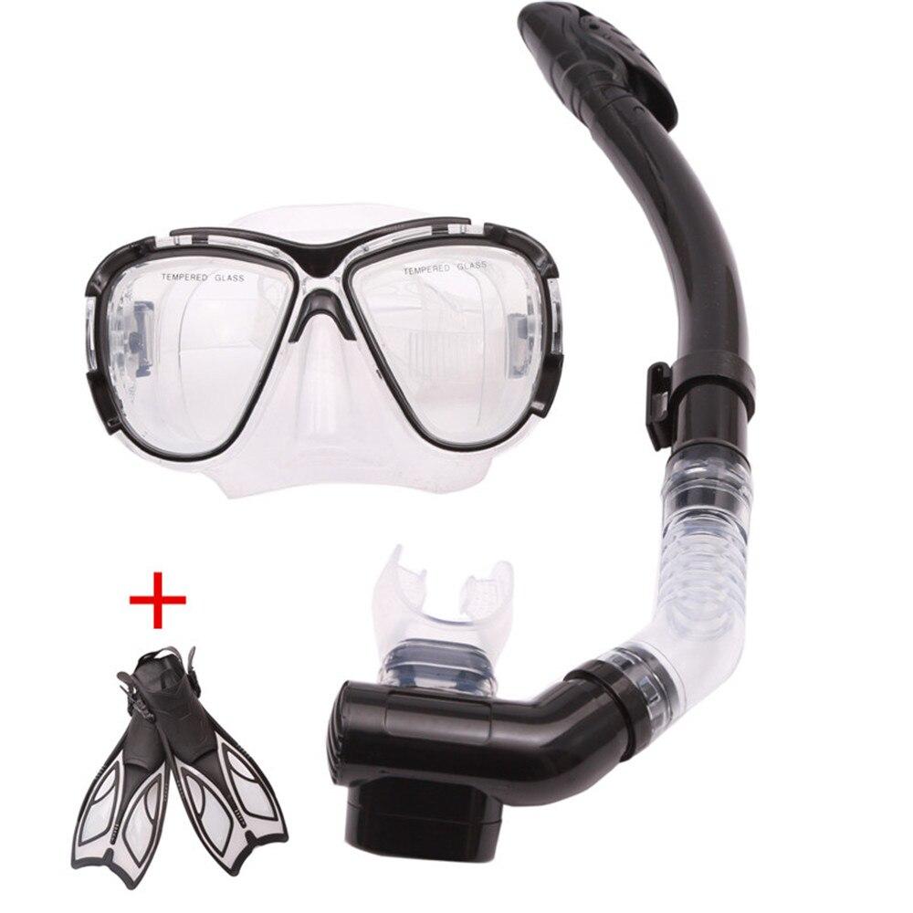 Full Dry Snorkeling Gel silicone Diving glasses Diving Mask+Snorkel+Fins Scuba Diving Equipment Sets Underwater Diving Mask