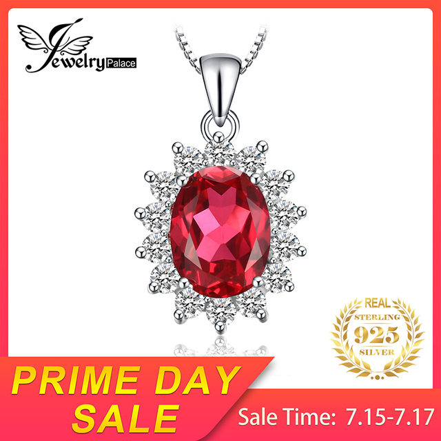JewelryPalace 925 Sterling Silver Pendants Necklace Oval Princess Diana William Pendant Created Red Ruby Pendant Without Chain
