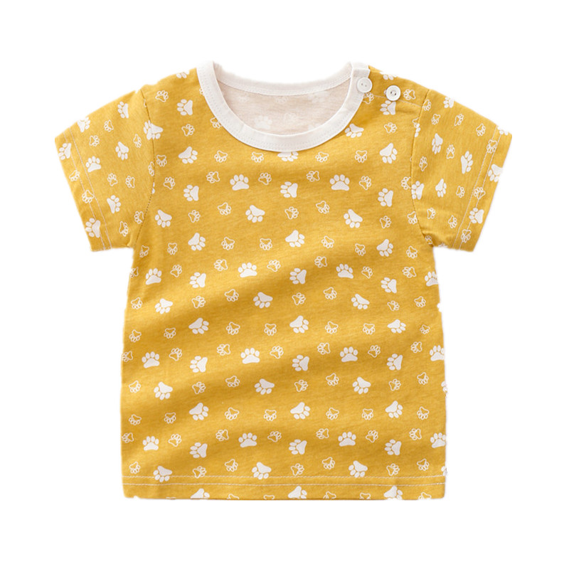 Summer Casual Cute Cartoon Printed Short-sleeved Baby Girl T-shirt 100% Cotton Todder Tops