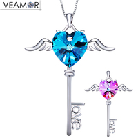 Veamor Angel Wing Heart Key Pendants Necklaces Blue Purple Love Necklace 925 Sterling Silver Jewelry Crystals