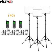 Viltrox VL 200 pro controle remoto sem fio led video studio luz lâmpada magro bi color regulável + adaptador ac + 2m suporte de luz para filmadora