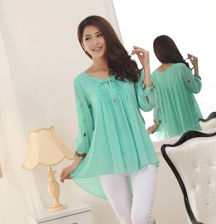 korean style women blouses and shirts puff peplum top mori girl plus ... 786a6798f1a3