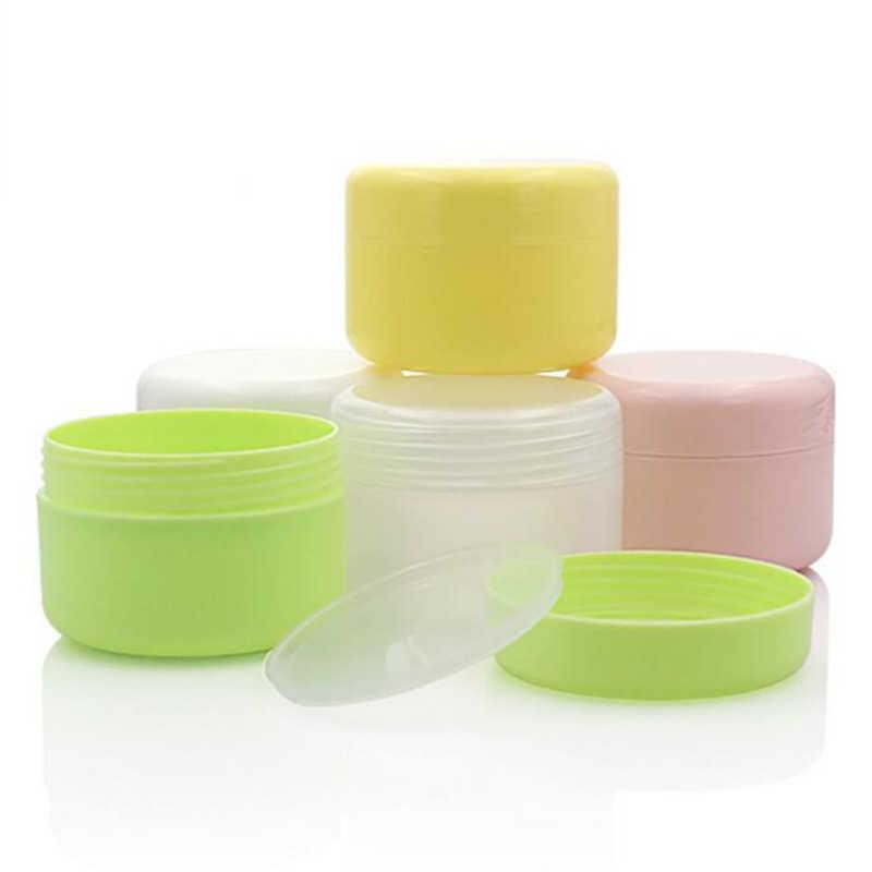 10 PCS Recarregáveis Garrafas de Plástico Vazio Maquiagem Panela de Viagem Rosto Creme/Loção/Recipiente Cosmético 5 Cores 10g