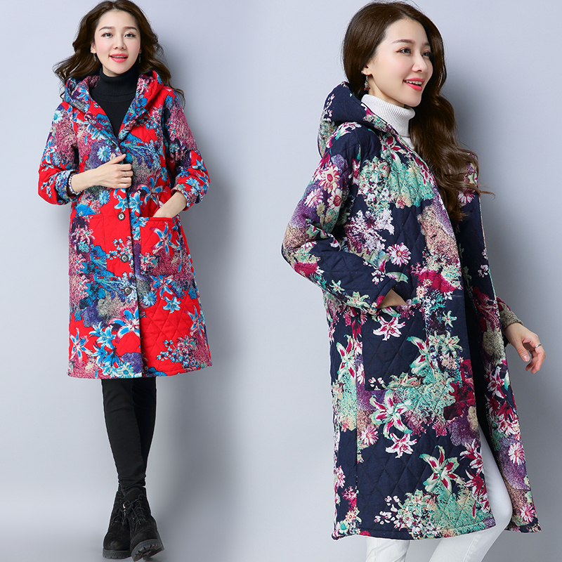 Women Winter Coats Chinese Style Parka Women Retro Printing Long Outerwear Womens Coat Sleeve Hooded Jackets Mujer Plus Size