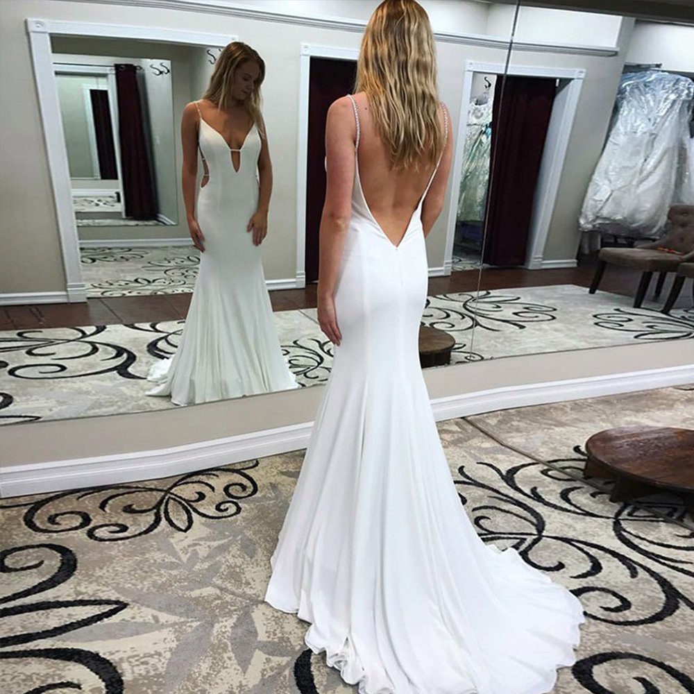 Bbonlinedress New Arrival Mermaid   Prom     Dress   Long Sexy Spaghetti Straps Backless Evening   Dress   White Satin Chiffon Evening Gowns
