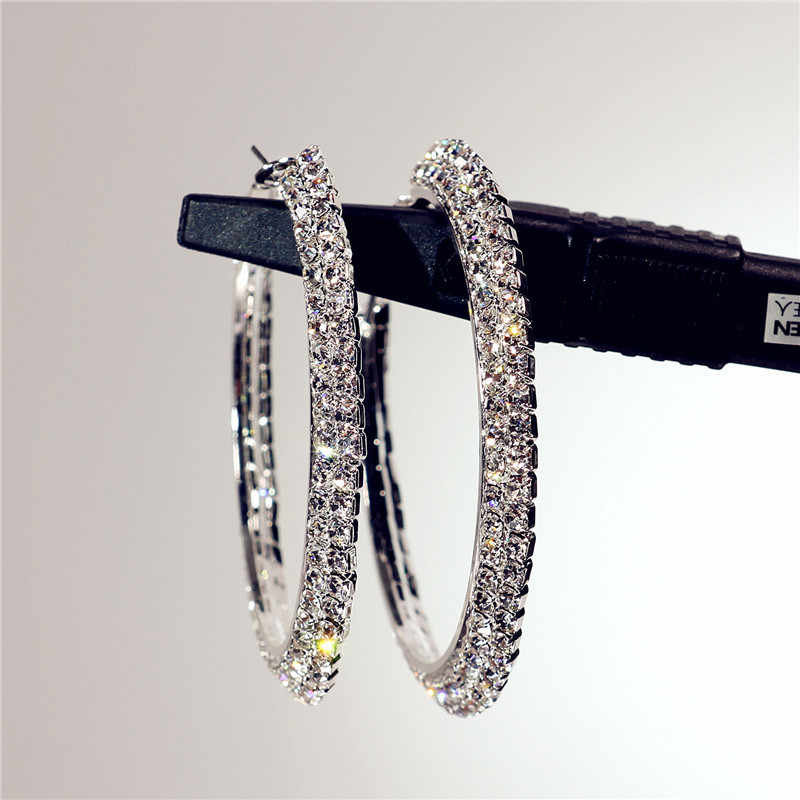 2019 Новая мода популярна с двухрядными большими кругами уличного танца серьги ушное кольцо невесты украшения для Женщины Девушки