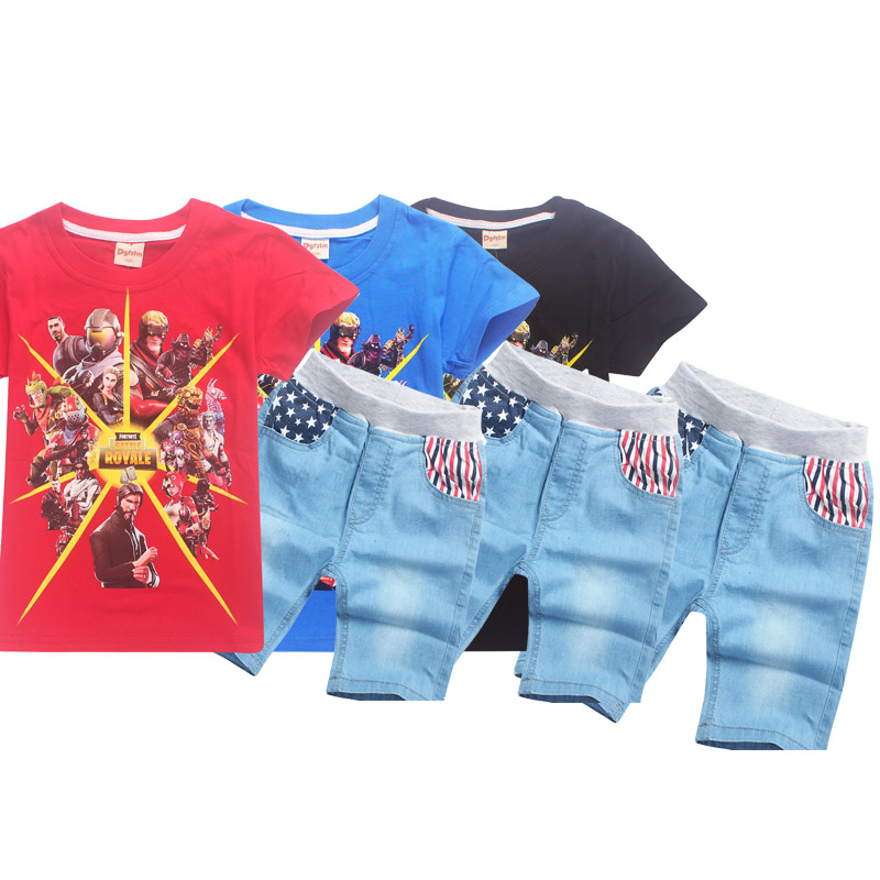 Fashion Game Fortnite roblox style figure Short Sleeve O-neck Boy T-shirt Girl Summer pattern trousers kids clothes sets 6-14y
