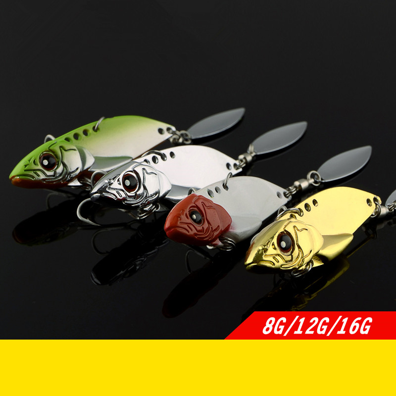 Metal Blade VIB Lure Bait with Spinner Spoon Knife Fish Lures Artificial Baits Long Range Casting&Trolling Seabass 8g/12g/16g ...