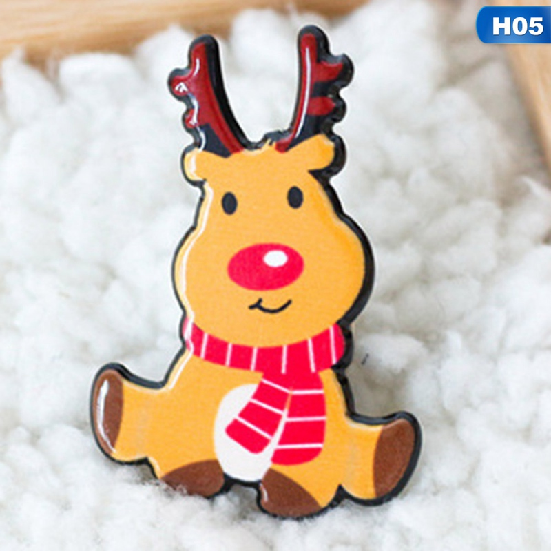 New Christmas Gift Acrylic Badges Pin Brooches Santa Claus Snowman Elk Pin for Kids T Shirt Sweater Coat Scarf Hat Decor