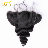 ALI BFF 13 x 4 Loose Wave Pre Plucked Lace Frontal Closure With Baby Hair Ear To Ear Bleached Knots 100 % Remy Human Hair Weave