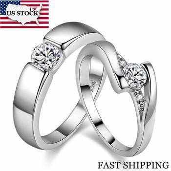 2abdfaede57e STOCK 5% Uloveido 2 piezas de Color plata Cubic Zirconia anillos de boda  para las mujeres par de anillo de compromiso de la joyería de los hombres  tamaño 12 ...