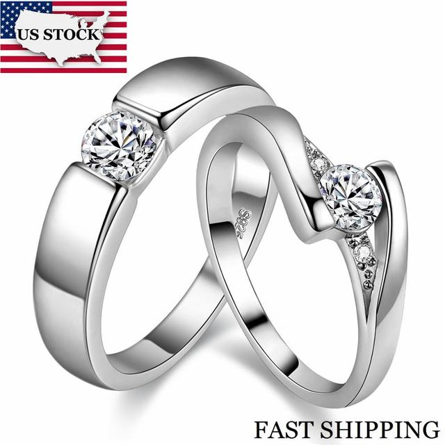 US STOCK 5%Off Uloveido 2Pcs Silver Color Cubic Zirconia Wedding Rings for Women Pair Engagement Ring Men Jewelry Size 12 J045