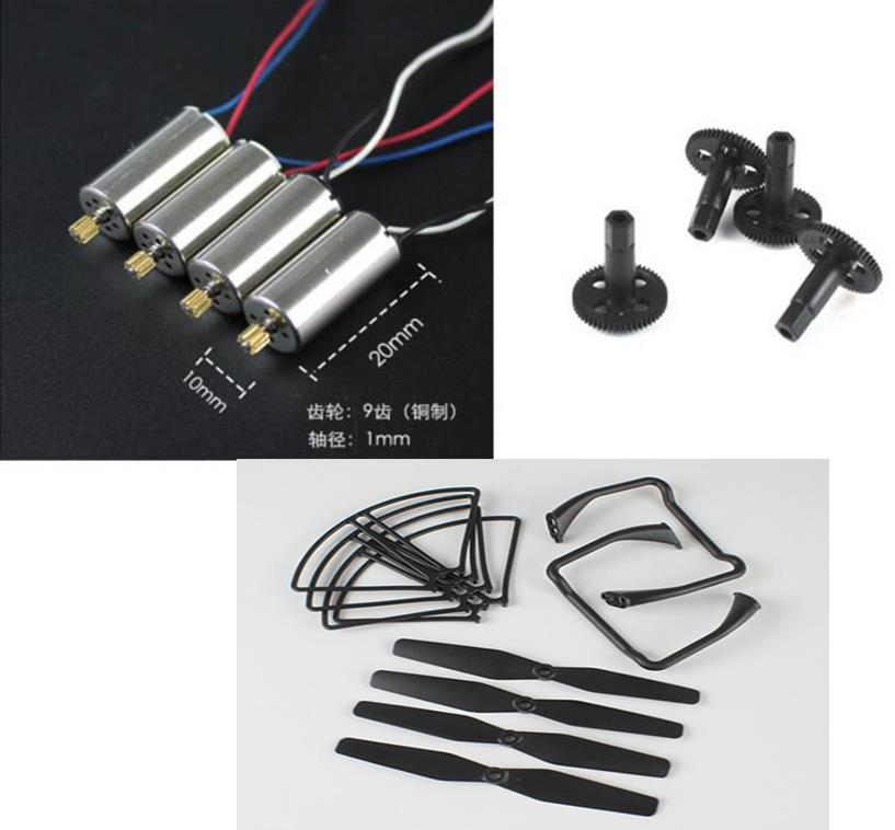 SJ/RC SJRC S20 S20W RC Quadcopter Spare Parts CW CCW Motor Propellers Baldes Guard Protective Cover Landing Gear