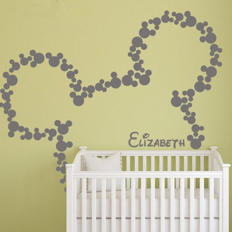 Aliexpress.com : Buy Mickey Mouse Wall Stickers PERSONALIZED BABY NAME Minnie  Mouse Inspired Wall Decals Nursery Kids Room Decor Mural Wallpaper D360  From ... Part 77