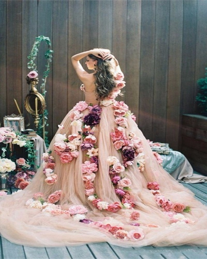 vintage-Pink-Flowers-Wedding-Dress-2016-Sexy-One-shoulde-Tulle-Custom-Made-Ball-Gown-Bridal-Dresses (1)