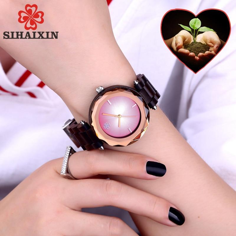2019Modern Blue Pink Feminine Geneva Small Wood Women Watches Fashion Luxury Quartz Bracelets Wristwatch Geometric Ladies Clocks