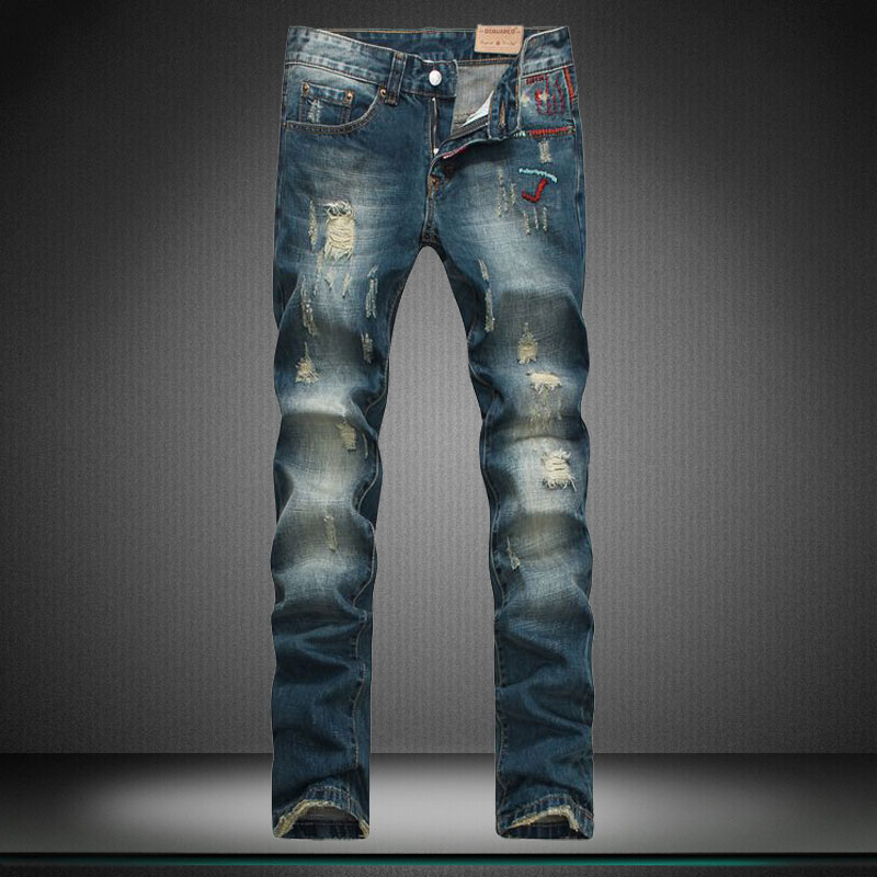 designer brand of pants new boy jeans hole straight embroidery