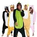 Venta al por mayor de la Puntada Unicornio Jirafa Panda Unisex Adultos Franela Pijamas Cosplay de la Historieta Animal Bodies Pijamas Para Hombres de Las Mujeres