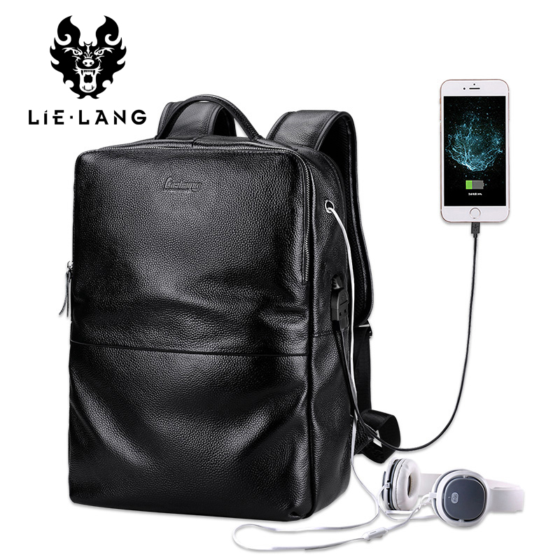 Real Leather Backpack Men High Quality Genuine Leather Laptop Backpack Usb Charging School Backpack Adolescence Mochilas Hombre