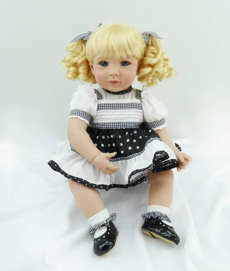 Pursue 20/50 cm On Sale Blond Curly Hair Handmade Soft Cloth Body Silicone Reborn Baby Girl Doll for Children Christmas Gift