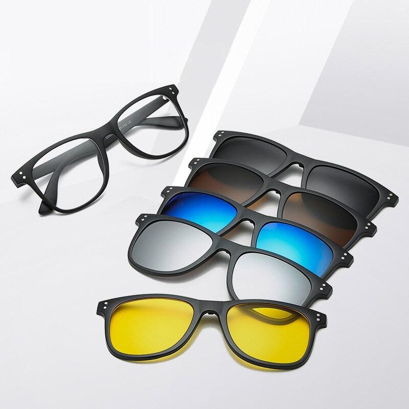 Polarized Magnetic Spectacle Frame with 5 Pcs Clip On Sunglasses Women Men Glasses Set Myopia Optical Glasses